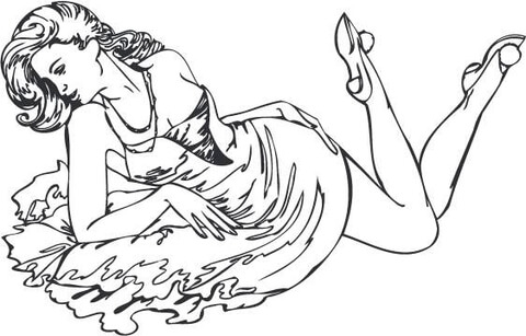 480x307 Country Girl Coloring Pages Pin Up Girl In A Dress Coloring Page