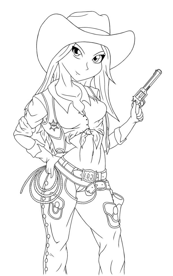 600x957 Cowgirls Coloring Pages