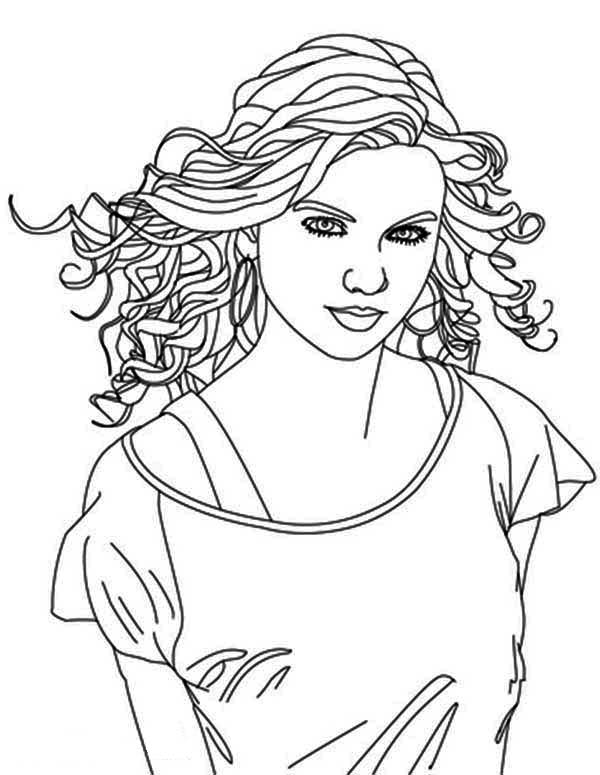 600x775 Taylor Swift Is Country Singer Coloring Page Color Luna