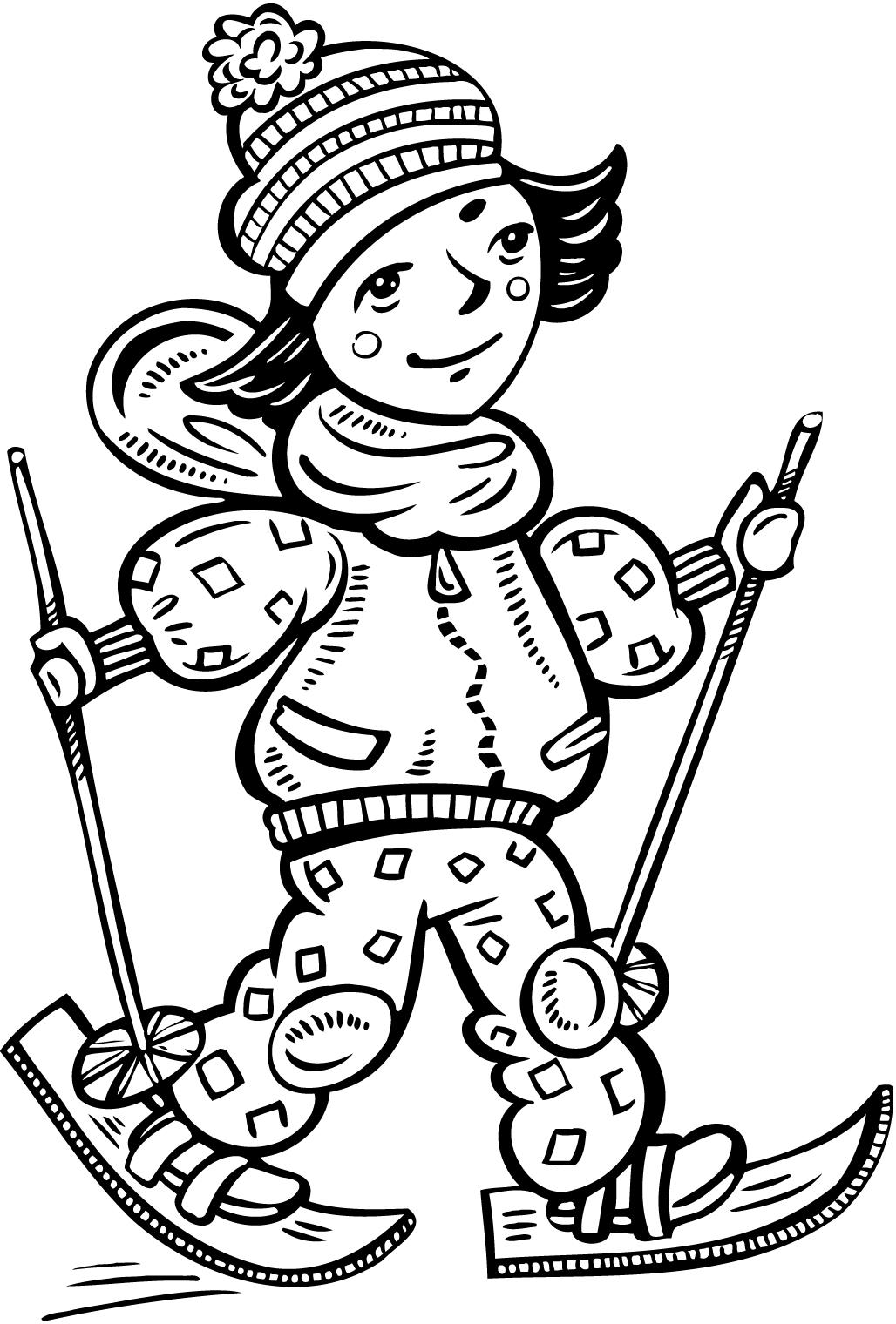 1028x1520 Printable Coloring Pages Of A Girl Cross Country Skiing