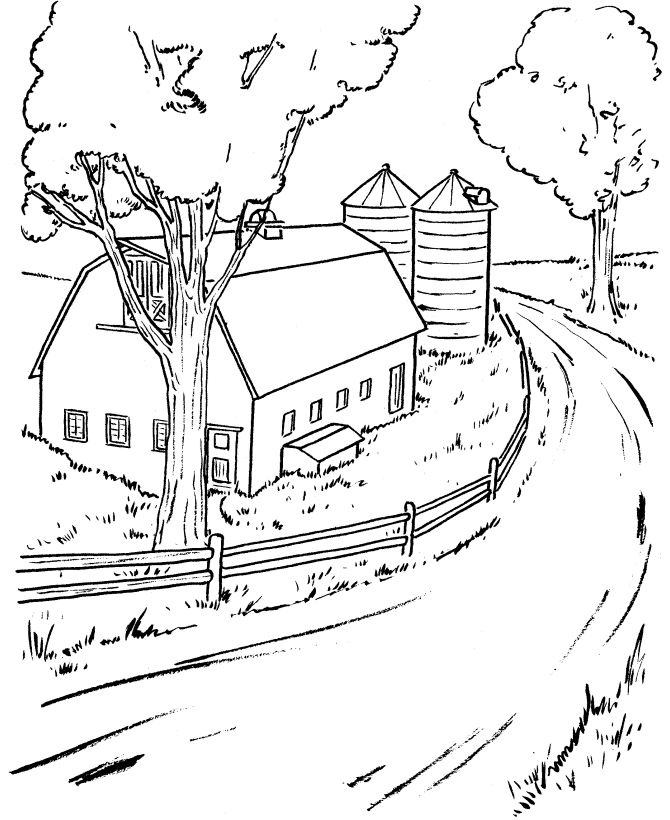 Country Scenes Coloring Pages