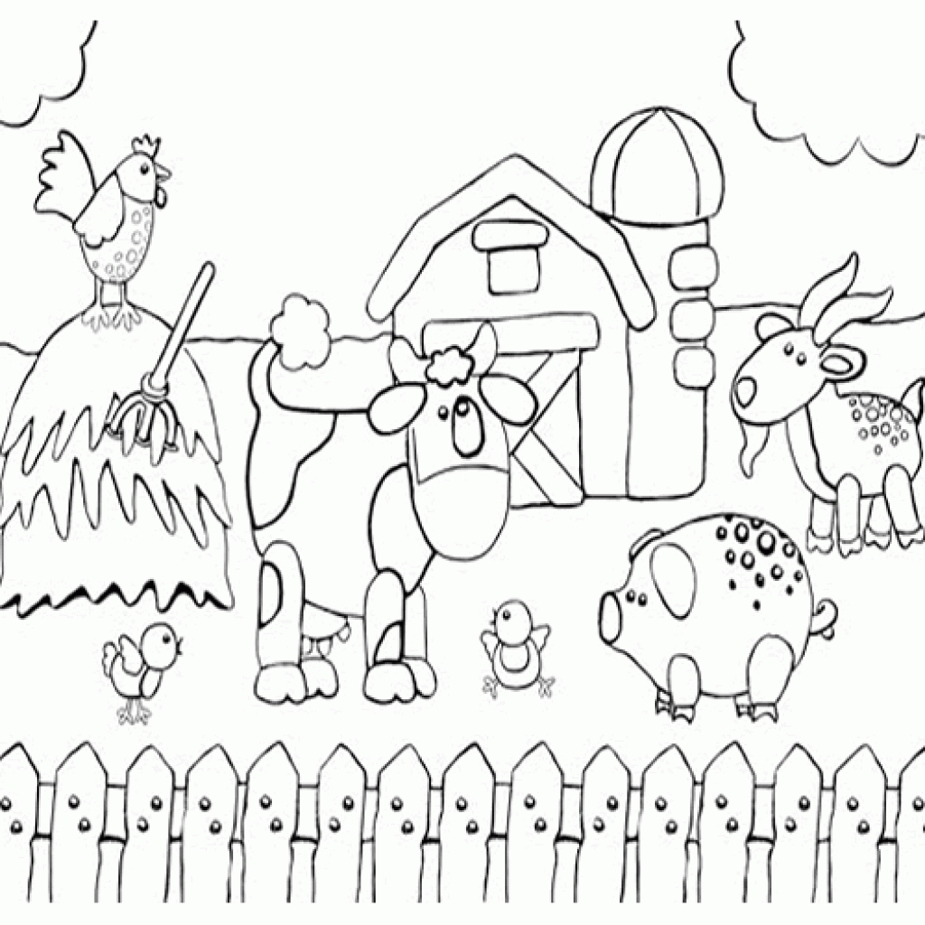 1024x1024 Special Free Farm Scene Coloring Pages Drawing