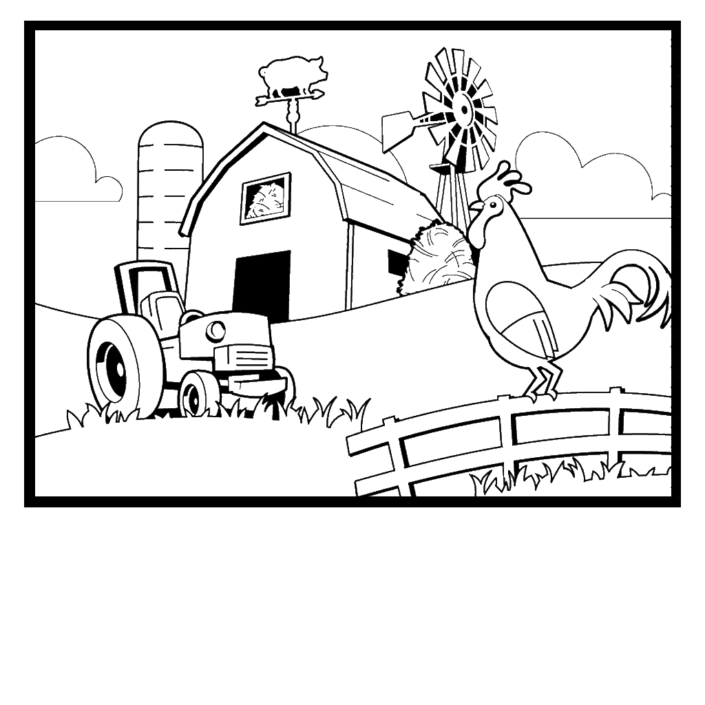 1024x1024 Colorful Free Farm Scene Coloring Pages Rooste