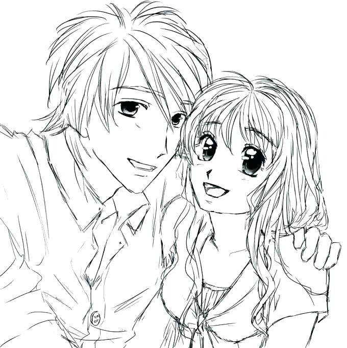 680x681 Cute Anime Coloring Pages Cute Couple Coloring Pages Free