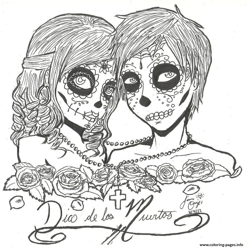 1024x1026 Skull Sugar Couples Love Coloring Pages Printable