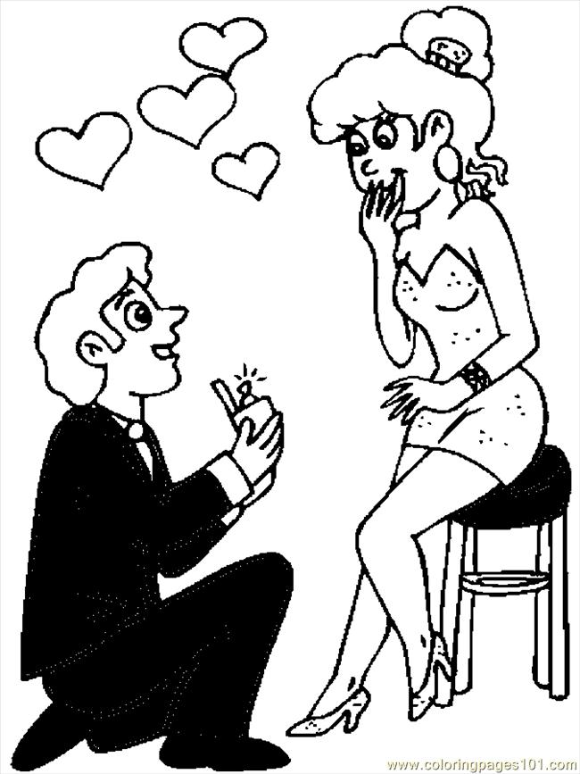 650x867 Valentine Couple Coloring Page