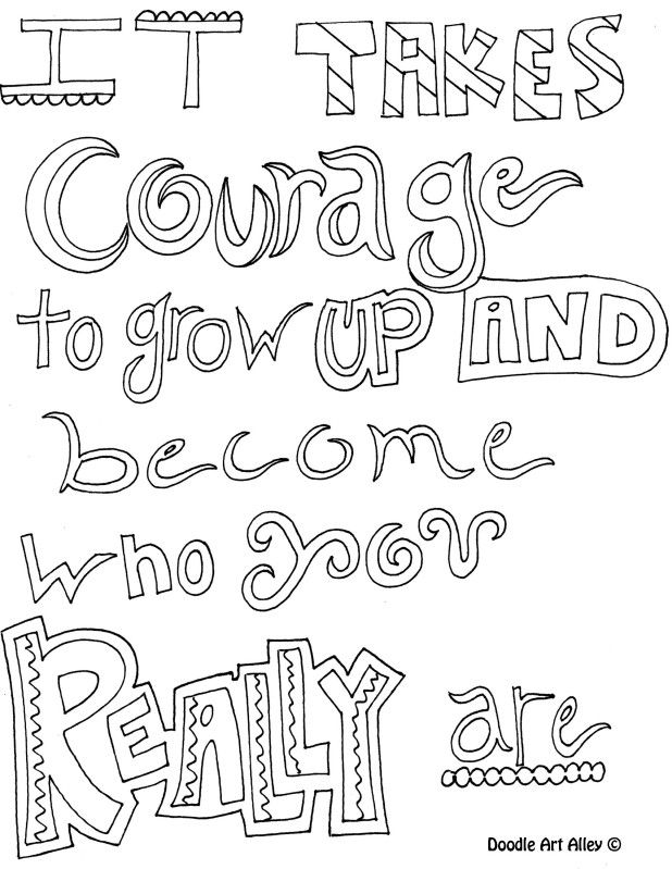 618x799 Courage Doodle Page To Color Quotes Doodles