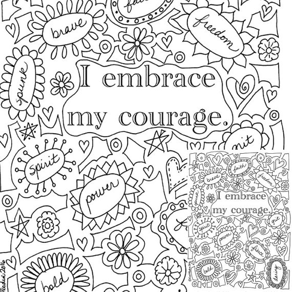 570x570 I Embrace My Courage Printable Coloring Page Instantly