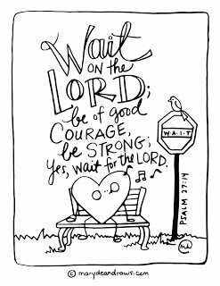 247x320 The Courage To Wait + Psalm Bible Verse Coloring Page