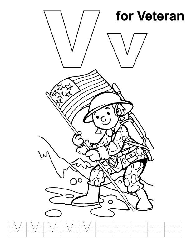 612x792 V For Veteran Coloring Page With Handwriting Practice For Gunner