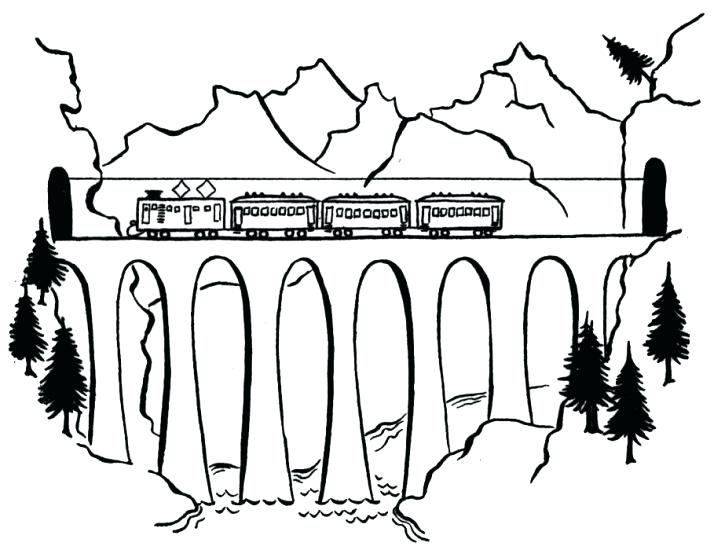 714x550 Bridge Coloring Page Tram On A Bridge Coloring Page Mackinac