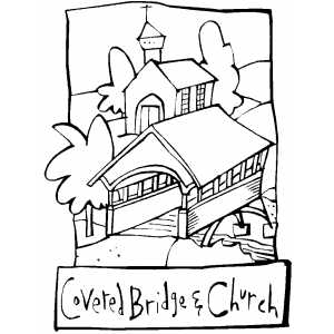 300x300 Covered Bridge And Church Coloring Page