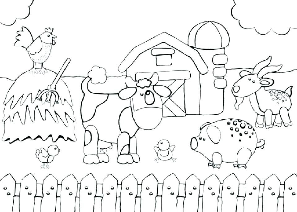 960x686 Farm Animal Scene Coloring Pages Free The Plain Sheep