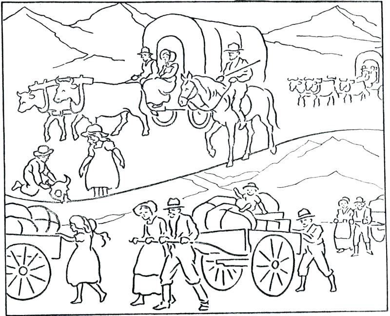 800x648 History Coloring Pages Covered Wagon Coloring Page Pioneer Day