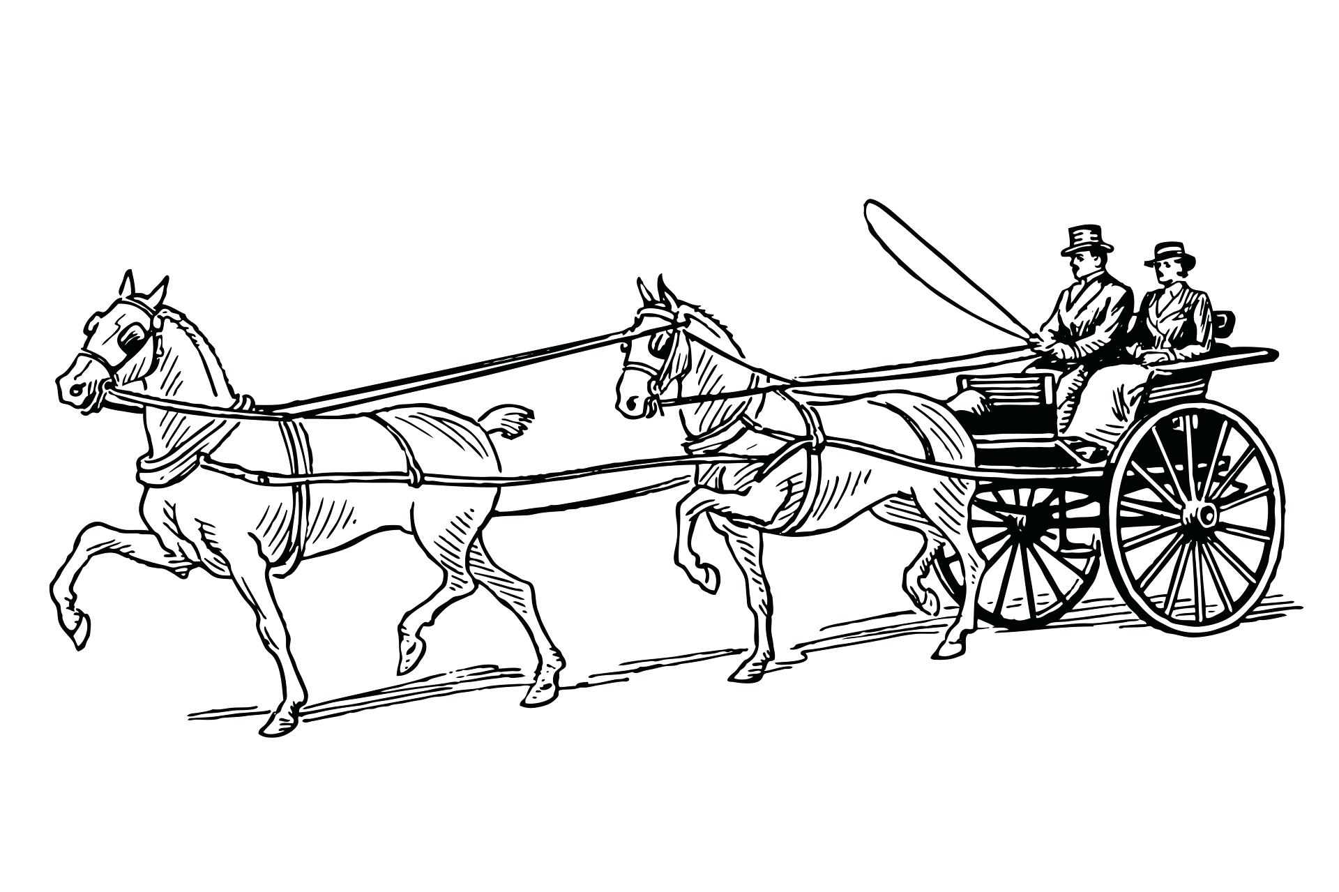 1920x1279 Covered Wagon Horse Coloring Page
