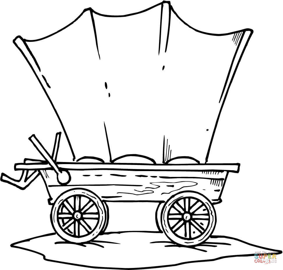 973x928 Western Wagon Coloring Page Free Printable Pages With Covered