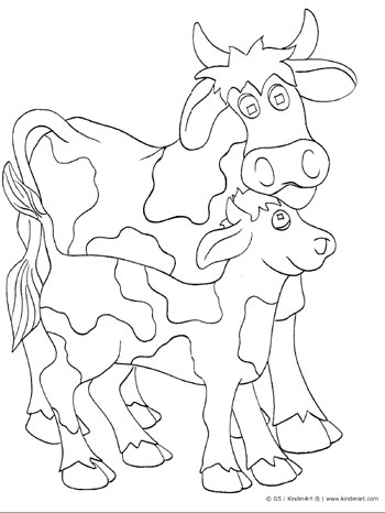 350x466 Cow And Calf Coloring Page Kinderart