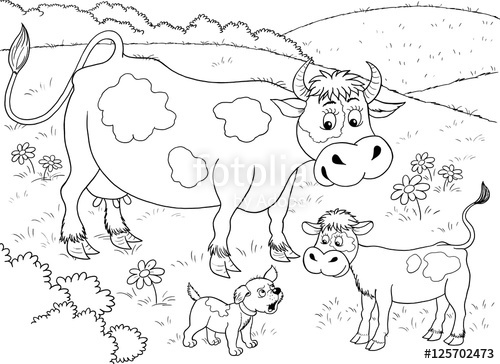 500x364 At The Farm Cute Mother Cow, Her Calf And A Puppy Illustration