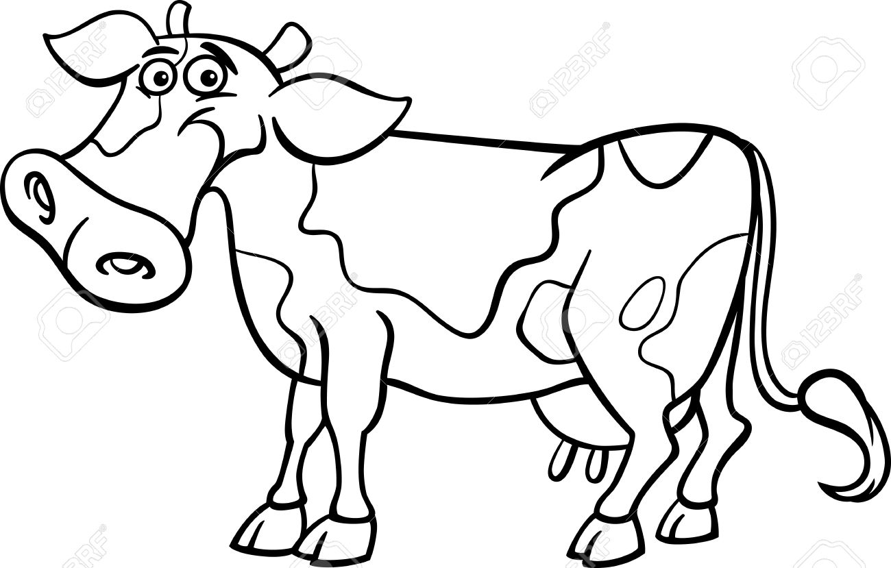 1300x829 Competitive Cartoon Cow Coloring Pages Cows Drawing At Getdrawings