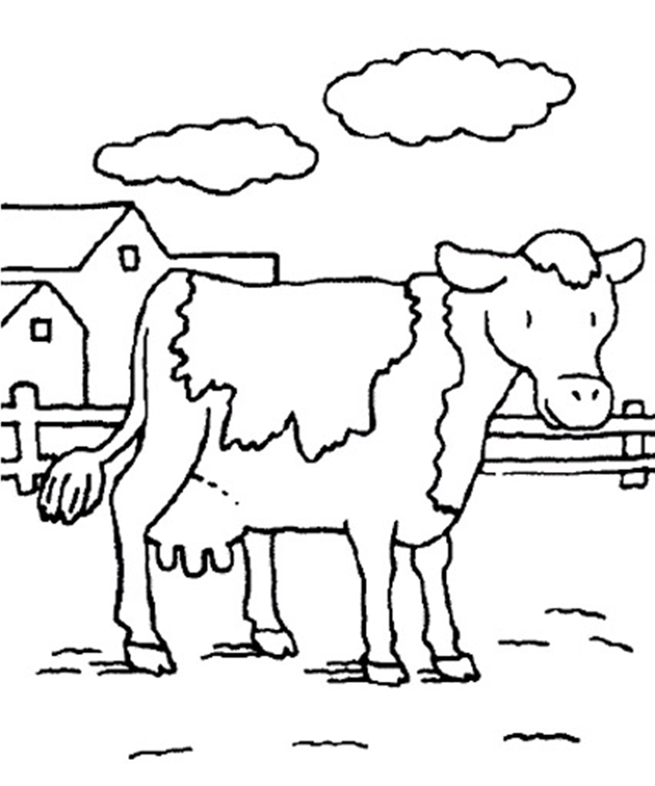 1347x1616 Cute Cow Coloring Pages Baby With Mom Coloringstar
