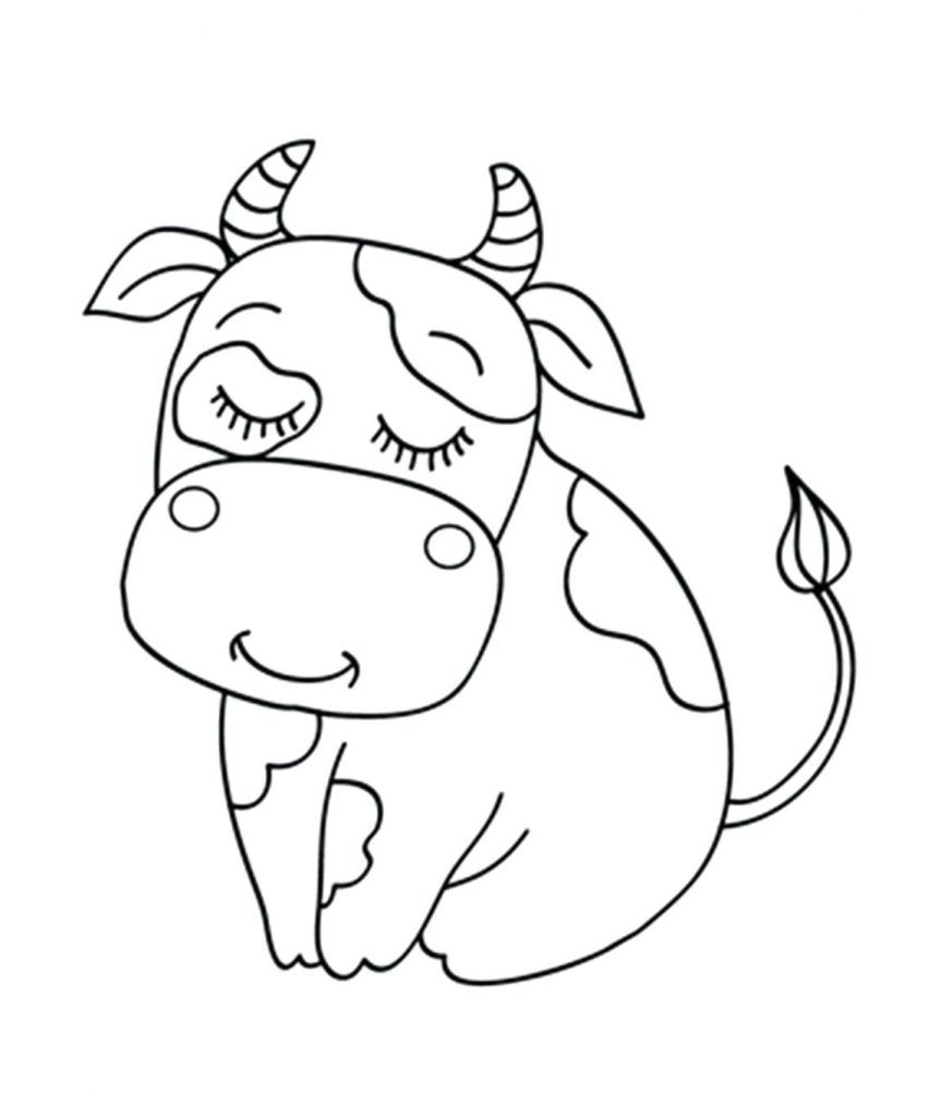 863x1003 Cow Animal Coloring Pages Baby Cow Coloring Page Vitlt New
