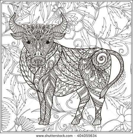 450x470 Cow On Floral Background Coloring Book For Adult And Older
