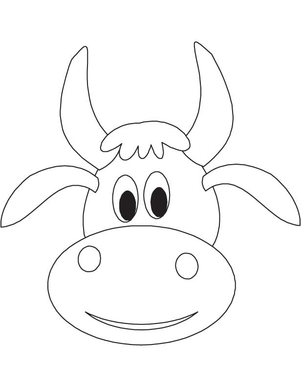 616x792 Cute Cow Face Coloring Page