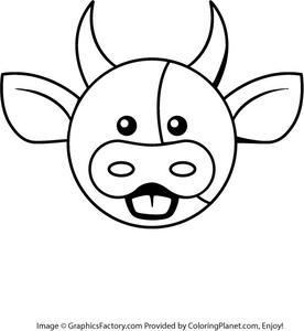 276x300 Free Cow Head Coloring Page From Coloring