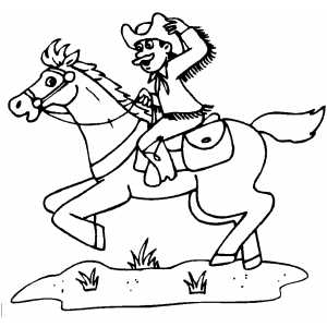 300x300 Cowboy Riding Horse Coloring Page