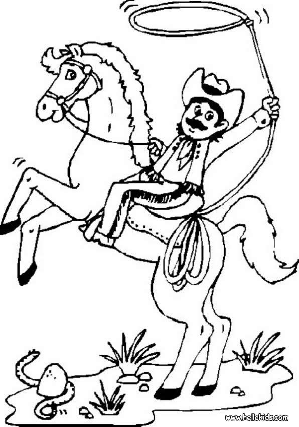 596x850 Cowboy On Bucking Horse Coloring Pages