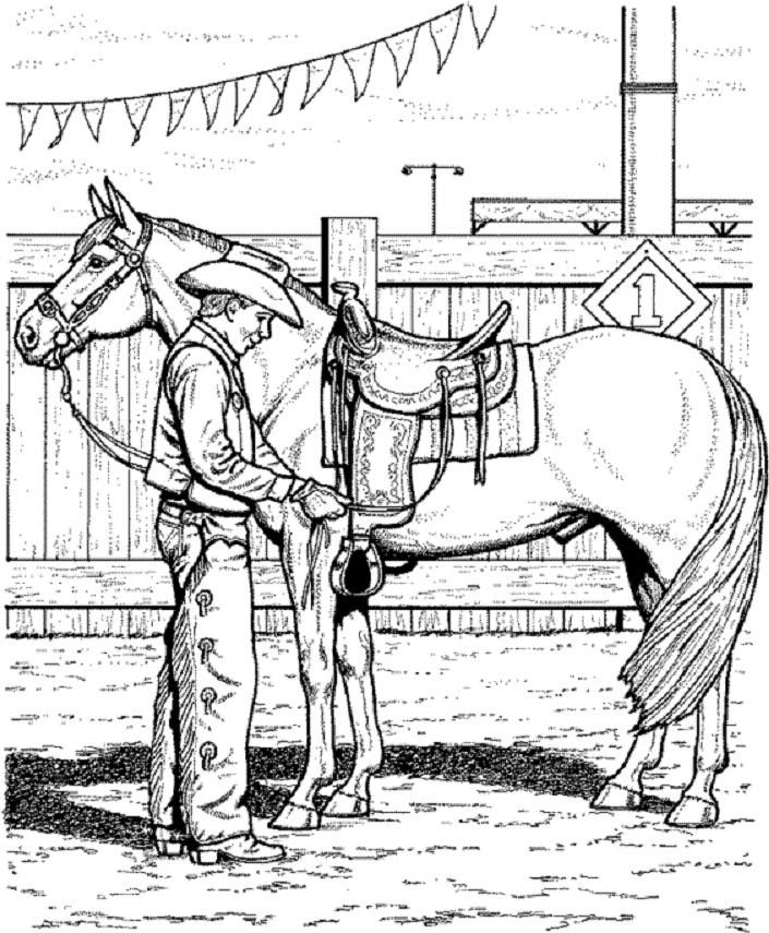 705x855 Horse Coloring Page Of Cowboy Adjusting Saddle
