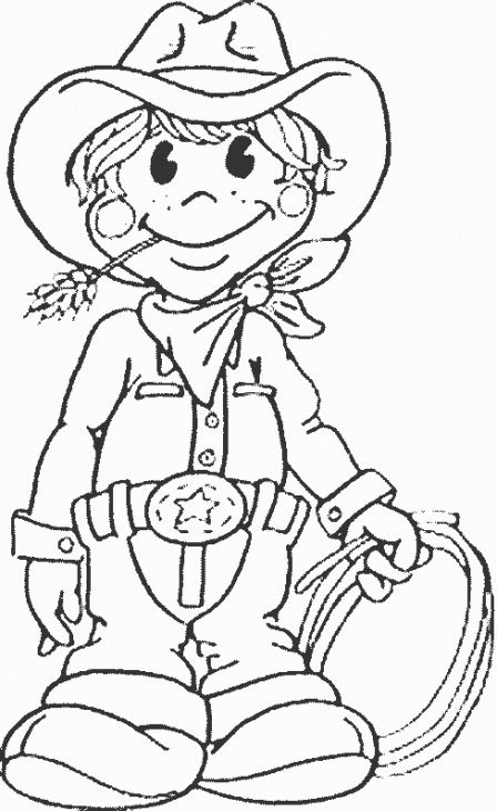 448x730 Online Printable Coloring Sheet Of A Brave Cowboy Fun Coloring