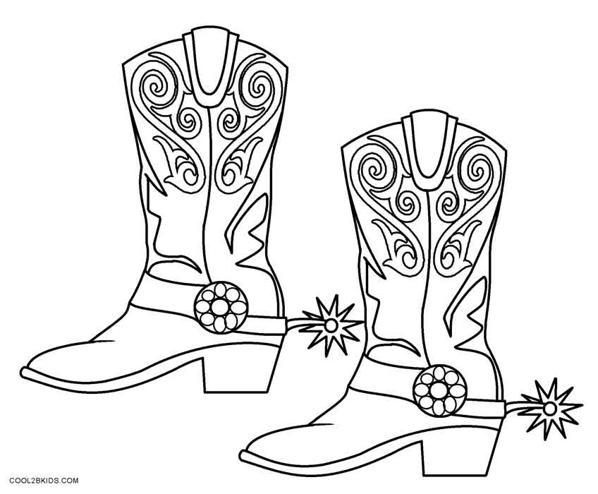 848x700 Cowboy Boot Coloring Page Printable Cowboy Coloring Pages For Kids