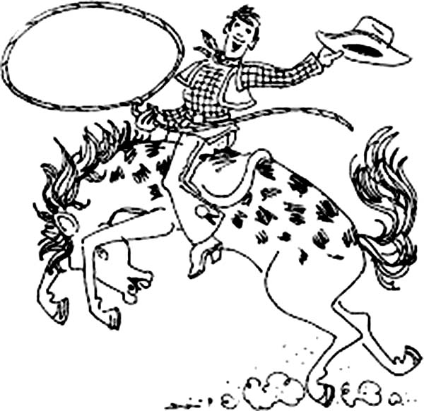 600x582 Bold Design Rodeo Coloring Pages Cowboy Riding Bull In Page Free