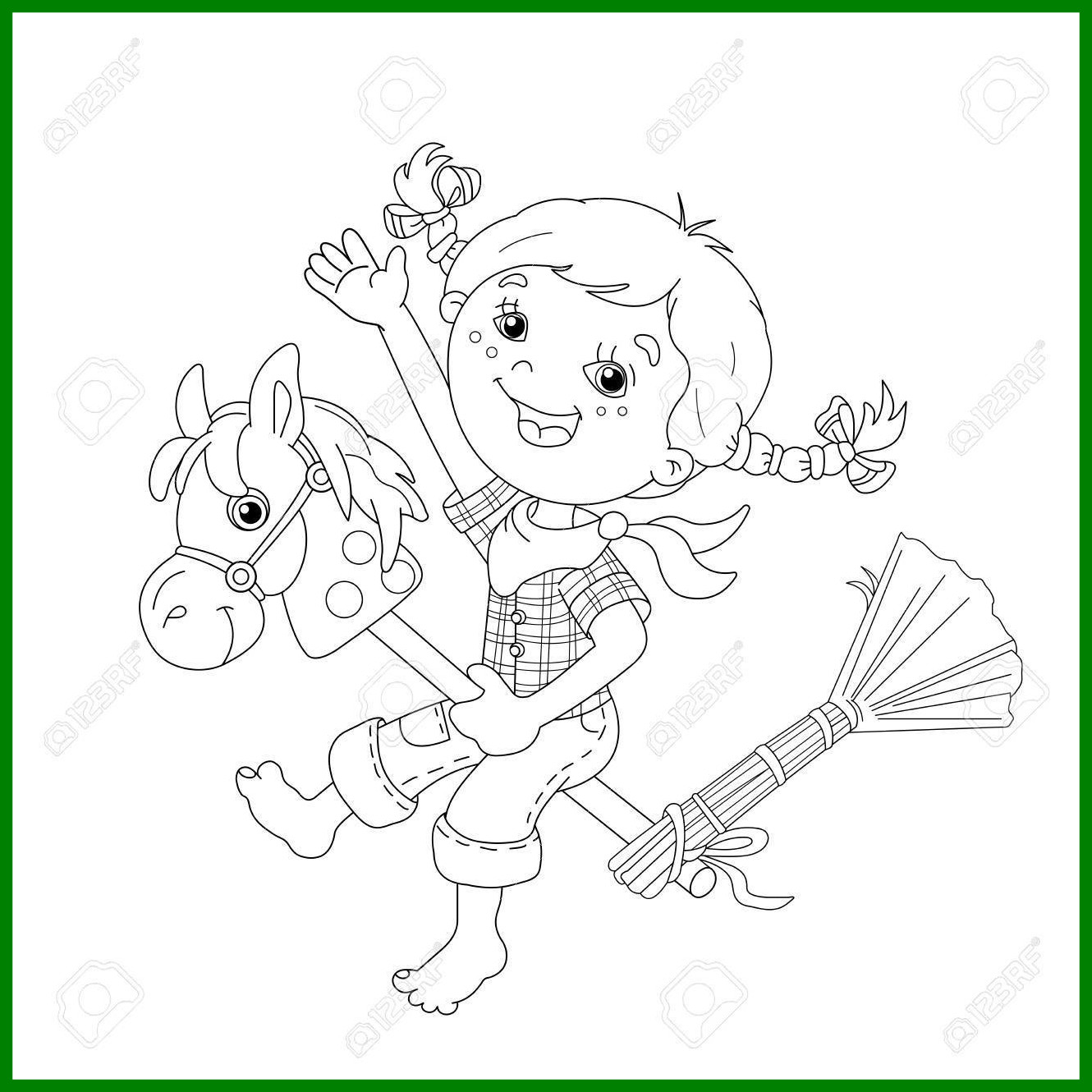 1330x1330 Fascinating Coloring Page Outline Of Cartoon Girl Playing Cowboy