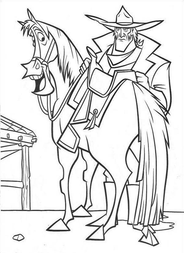 600x827 Home On The Prairie Old Cowboy And His Horse Coloring Pages