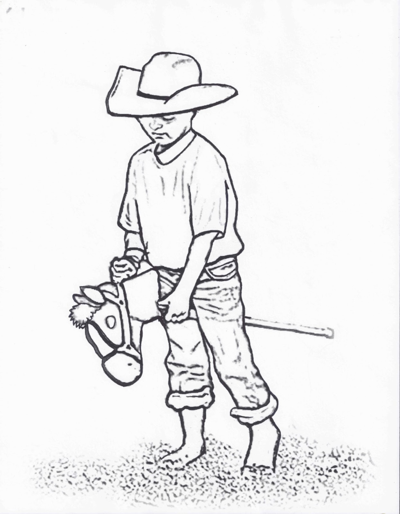 796x1024 Rodeo Coloring Pages Little Cowboy On Stick Horse Color Page