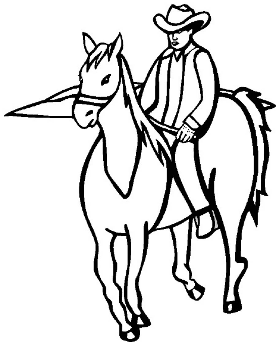 900x1113 Cowboy And Horse Coloring Pages Hat Page
