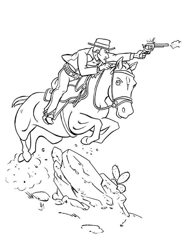 600x776 Cowboy Shooting Bad Guy While Riding Horse Coloring Page
