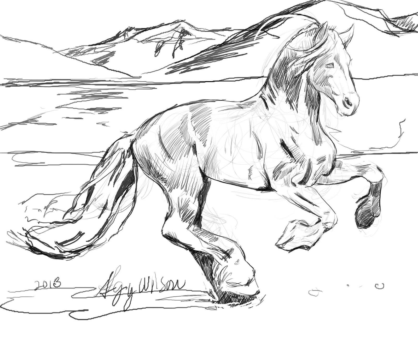 1600x1334 Realistic Horse Coloring Page