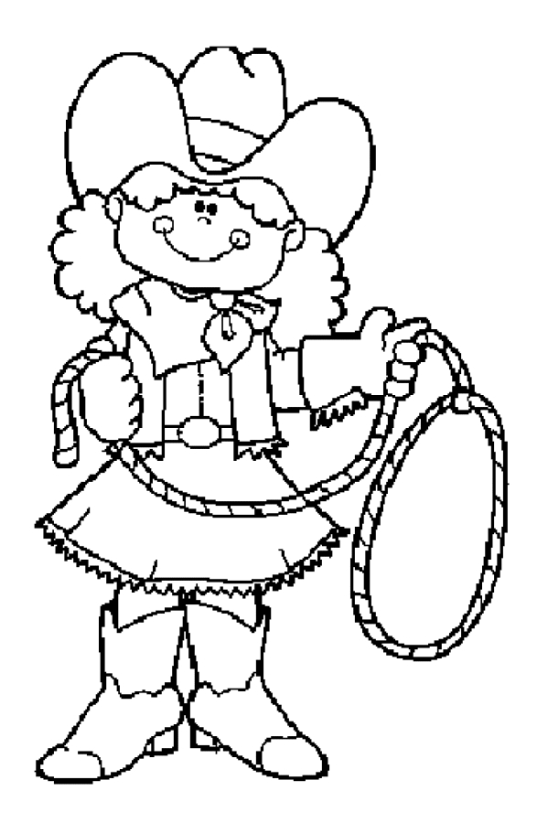 Cowgirl And Cowboy Coloring Pages