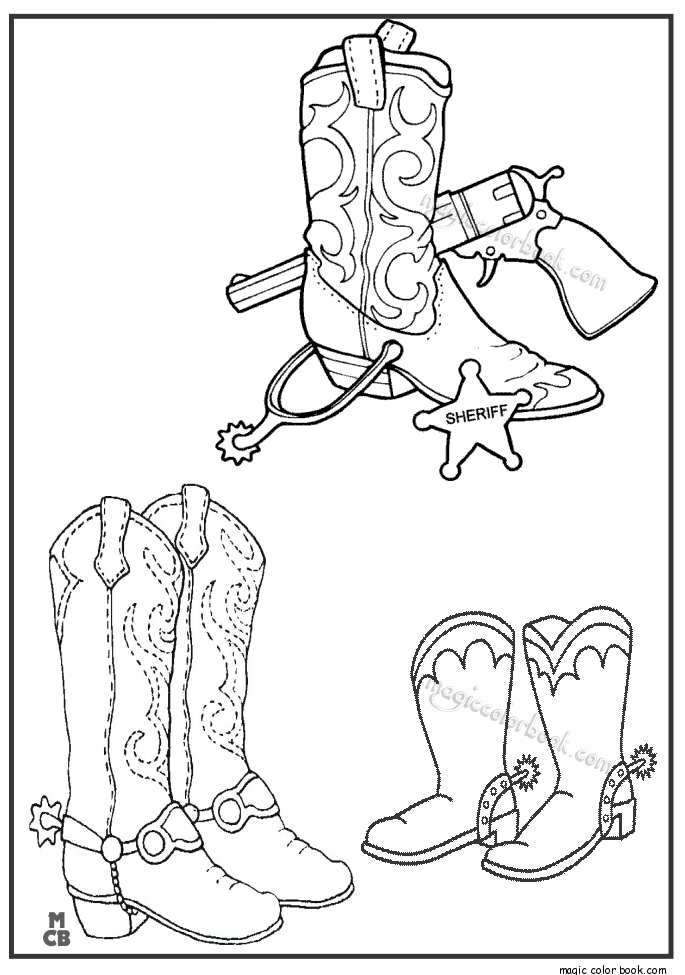 cowboy boot and hats coloring pages   Cowgirl Boots Coloring Pages at GetDrawings.com   Free for ...