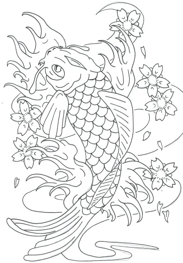 640x918 Koi Fish Coloring Page Coloring Pages Realistic Koi Fish Coloring