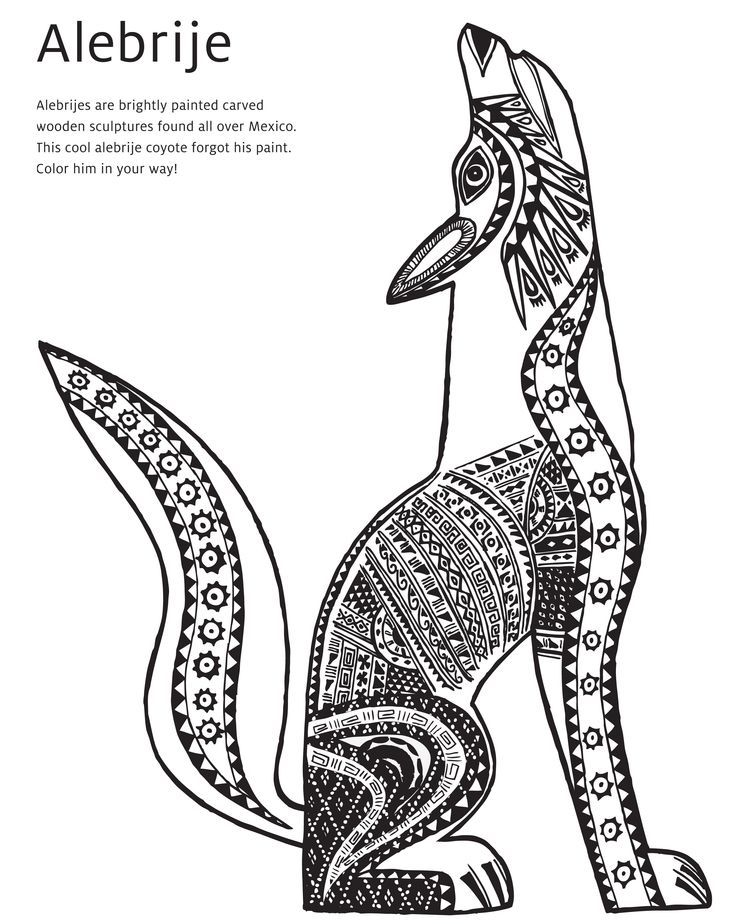 736x924 Mexican Folk Art Animal Drawings Alebrije Coyote Coloring Page