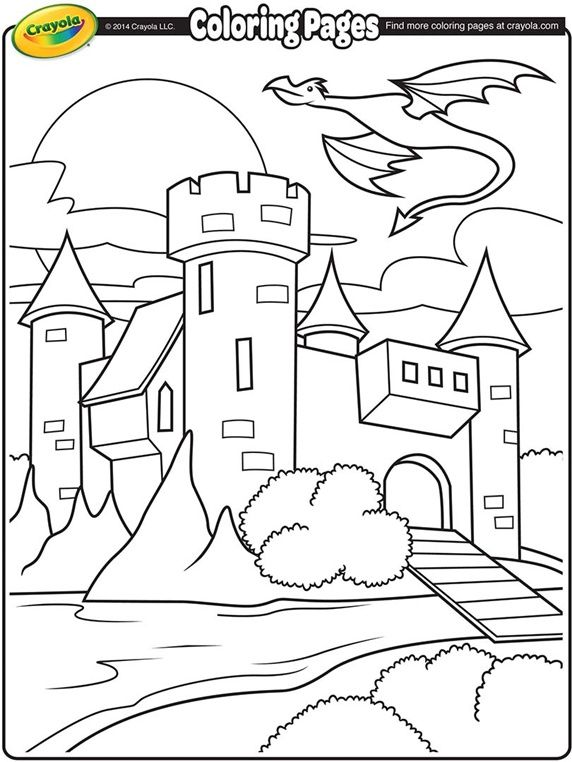572x762 Castle With Dragon Flying Above On Coloring Pages