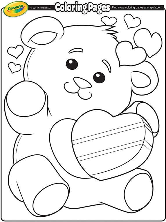 572x762 Valentine's Teddy Bear On Coloring Pages