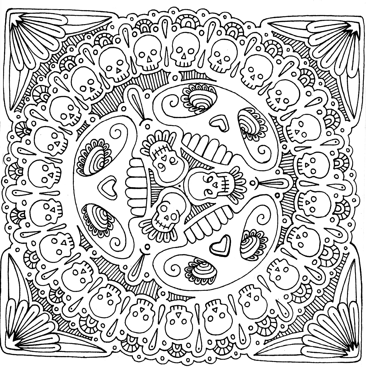 1275x1284 Crazy Design Coloring Pages Newyork