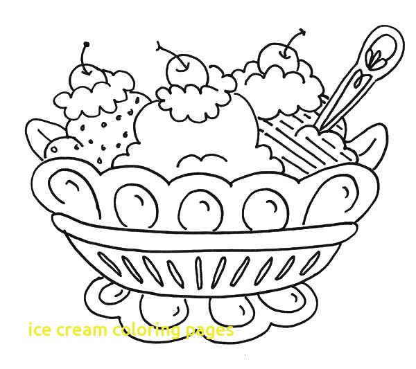 600x533 Ice Cream Coloring Pages With Banana Split And Ice Cream Coloring