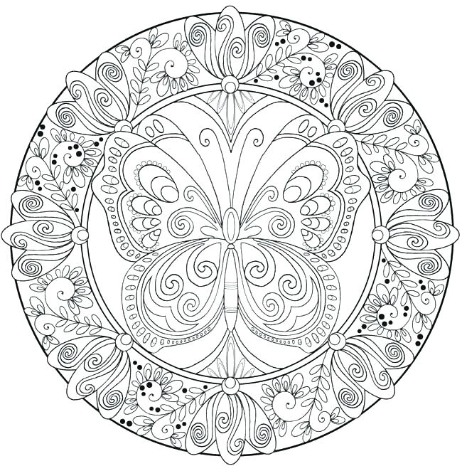 650x655 Butterfly Coloring Pages Adults Mandala Coloring Books
