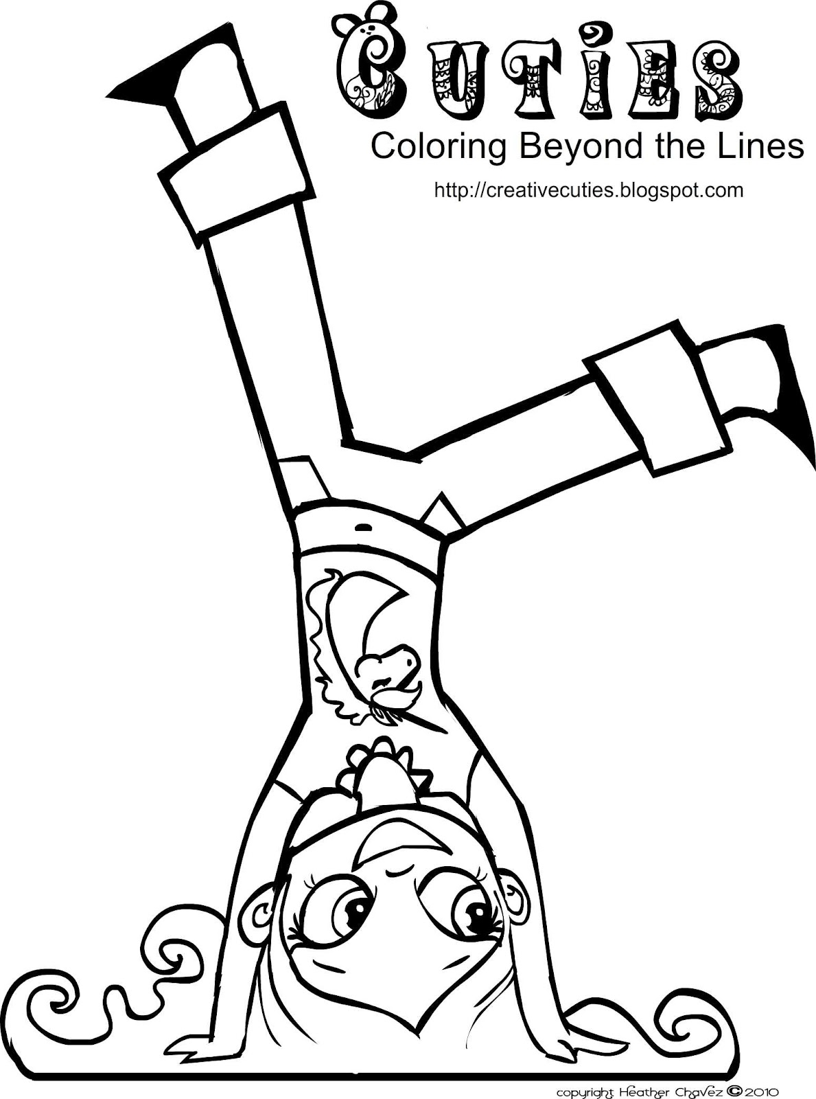 1189x1600 Creative Cuties Cute Girl Hand Stand Coloring Page